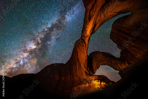 Slika na platnu Milky Way & Double Arch, Arches National Park nightscape