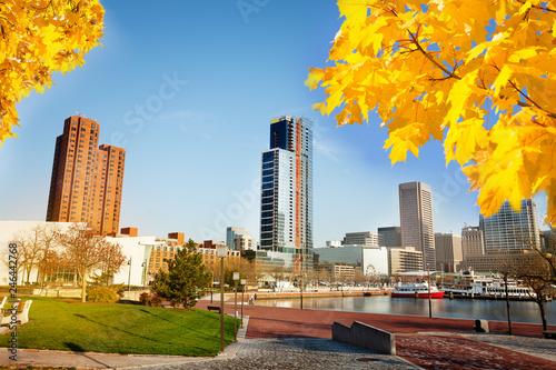 Fotobehang Amerikaanse Plekken Scenic view of Baltimore Inner Harbor in autumn