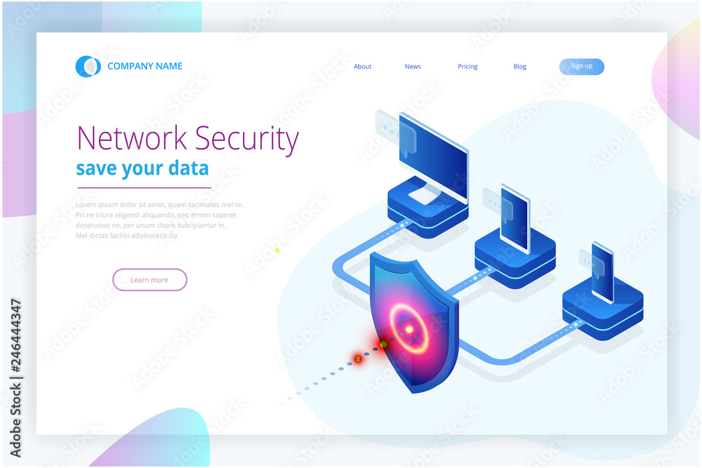 Fototapeta Isometric Protection network security and safe your data concept. Web page design templates Cybersecurity. Digital crime by an anonymous hacker. Vector illustration