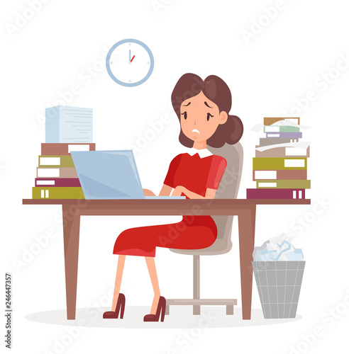 vector illustration of tired and sed business woman or an accountant in a suit  working on a