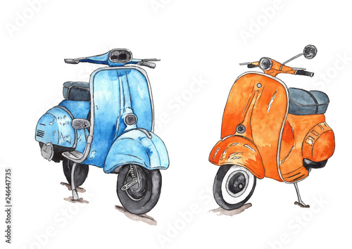 Set watercolor: Scooters