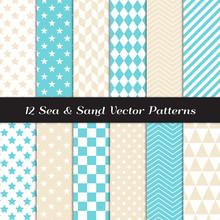 Sea And Sand Color Geometric Patterns. Backgrounds In Aqua Blue And Beige Diamond, Chevron, Polka Dot, Checks, Stars, Triangles, Herringbone & Stripes. Repeating Pattern Tile Swatches Included.