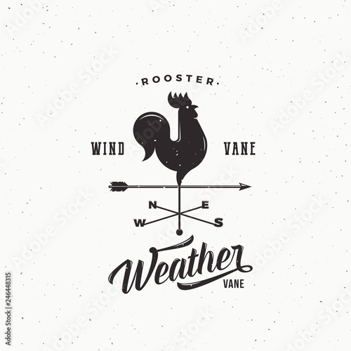 Fotografie, Obraz Windvane Rooster Abstract Retro Style Vector Sign, Emblem or Logo Template