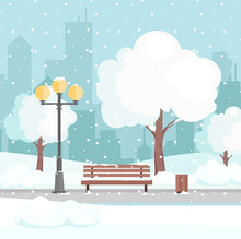 Vector Illustration Of Winter City Park With Snow And Modern City Background. Bench In Winter City Park, Winter Holidays Concept In Flat Cartoon Style, Greeting Card Background.