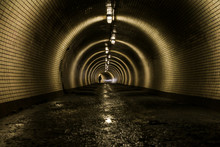 A Picture From The Old Tunnel For Pedestrians. The Water Is Flowing On The Floor.