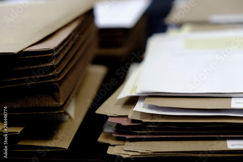 Fotografie, Obraz  Files and Folders on Desk Work Busy Information