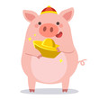 Chinese New Year 2019. .Little pigs with chinese gold ingot.