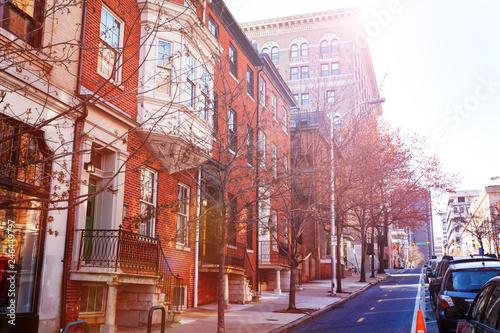 Fotobehang Amerikaanse Plekken Baltimore streets with red brick houses, USA
