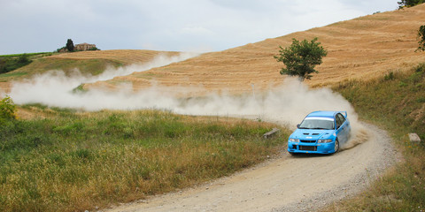 A gravel road in Tuscany during the rally event.