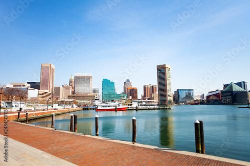 Fotobehang Amerikaanse Plekken Baltimore Inner Harbor marina and skyscrapers, USA