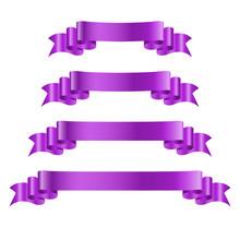 Purple Ribbon Banners Set. Old Vintage Style Design. Premium Decorative Elements Isolated