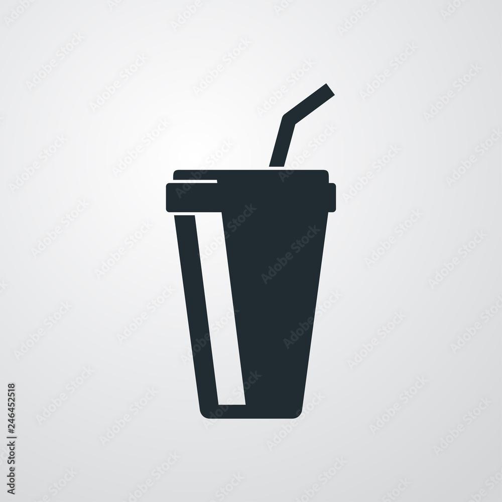Fototapeta Icono plano vaso de papel en fondo gris