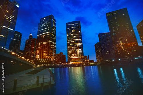 Fotobehang Amerikaanse Plekken Illuminated skyscrapers of Chicago downtown, USA during night
