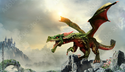 Fotografia  Green dragon scene 3D illustration