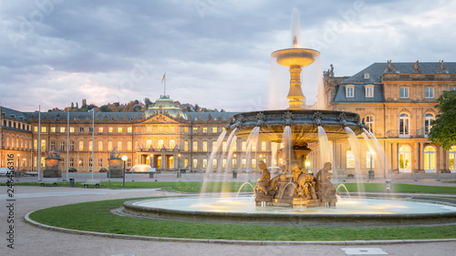 Aluminium Prints Central Europe Morning View of Stuttgart Schlossplatz