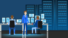 Data Center Engineer Workplace. Flat Illustration