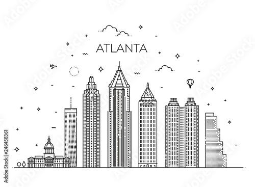 Atlanta architecture line skyline illustration. Linear vector cityscape with famous landmarks