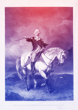 George Washington Engraved Illustration On Horseback. He Was The Founding Father Of USA And The First President. In American Revolutionary War, He Led Patriot Forces To Victory Over The British.