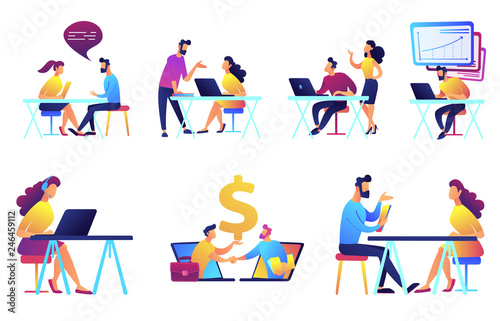 Photo  Businessmen and business meeting vector illustrations set