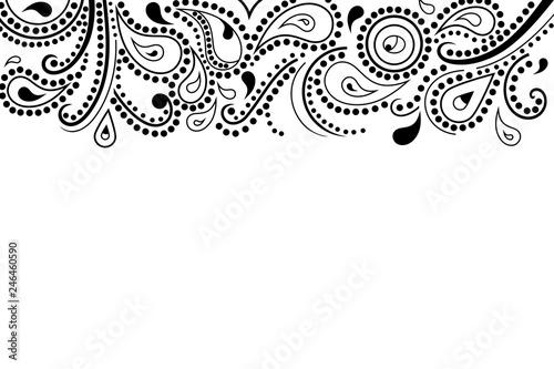 Obraz na plátně Abstract paisley pattern, top border, vector illustration