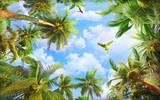 Fototapeta Na sufit - palm trees and tropical sky