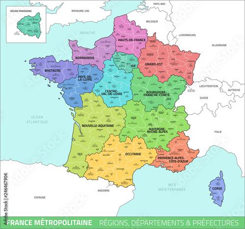 Carte de France - Régions, départements et préfectures - Acheter ce vecteur libre de droit et ...