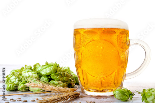 Tuinposter Bier / Cider Glass of beer with hops and barley.