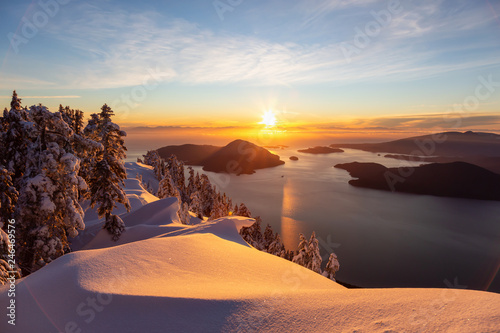 Canvas Prints Cappuccino Beautiful Canadian Landscape view during a colorful winter sunset. Taken from top of Mnt Harvey, North of Vancouver, BC, Canada.