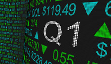 Q1 1st First Quarter Period Stock Market Ticker Words 3d Illustration