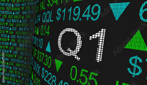 Fotografie, Obraz Q1 1st First Quarter Period Stock Market Ticker Words 3d Illustration