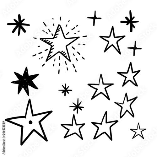 Hand drawn star doodles Wall mural