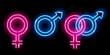 Neon Glowing Icons Of Venus An...