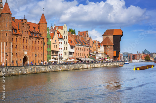 Fotobehang Europa Old town of Gdansk reflected in Motlawa river, Poland