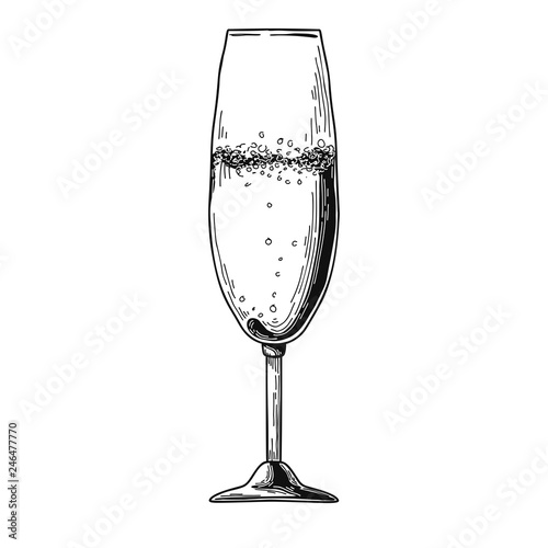 Champagne flute isolated on white background Fototapete