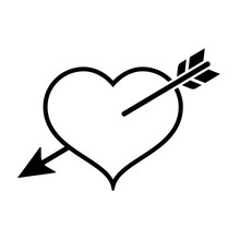 Heart In Love Icon. Heart Pierced With Cupid's Arrow. Vector Illustration