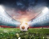 Fototapeta sport - Soccerball at the stadium ready for match