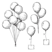 Set Of Different Balloons. Inflatable Balls On A String. Inflatable Balloons With A Card For Text.