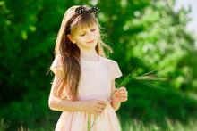 Portrait Of Beautiful Little Girl In Elegant Dress In Green Summer Field