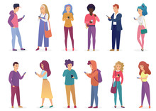 Vector Illustration Of Fashion People Speaking Phone, Using Smartphone Flat Vector Illustration. Appearance Of Modern Society, Social Concept.