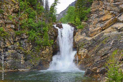 Fotografia  Running Eagle Falls in the Valley of Two Medicine Lake in Glacier National Park