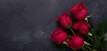 Red Rose Flowers Bouquet On Bl...