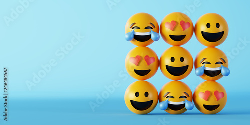 Love and happiness emoticon 3d rendering background, social media and communicat Poster Mural XXL