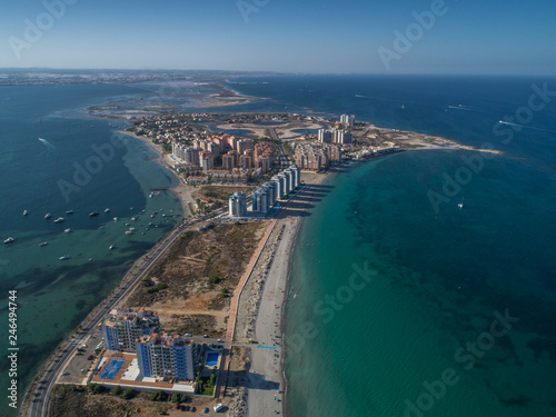 Fotomural Aerial photo of tall buildings and the beach on a natural spit of La Manga betwe