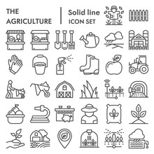 Agriculture Line Icon Set, Farming Symbols Collection, Vector Sketches, Logo Illustrations, Gardening Signs Linear Pictograms Package Isolated On White Background, Eps 10.