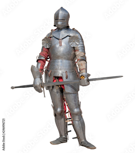 Slika na platnu Knight in shiny metal armor on white background.