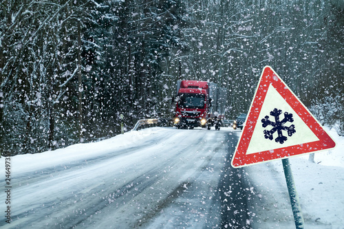 Fotografie, Obraz  Germany, Danger, Road, Traffic, Winter.