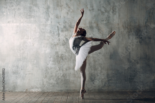 Spoed Foto op Canvas Dance School Ballerina female. Young beautiful woman ballet dancer, dressed in professional outfit, pointe shoes and white tutu.