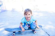 Little Girl On A Skateboard St...