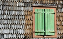 Weathered Wooden Shingle Facade With Windows, Carinthia, Austria, Europe