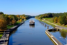 River Cruise Ship On Main-Danube-Canal, Lock Eckersmuhlen Near Roth, Franconian Lakes, Middle Franconia, Franconia, Bavaria, Germany, Europe